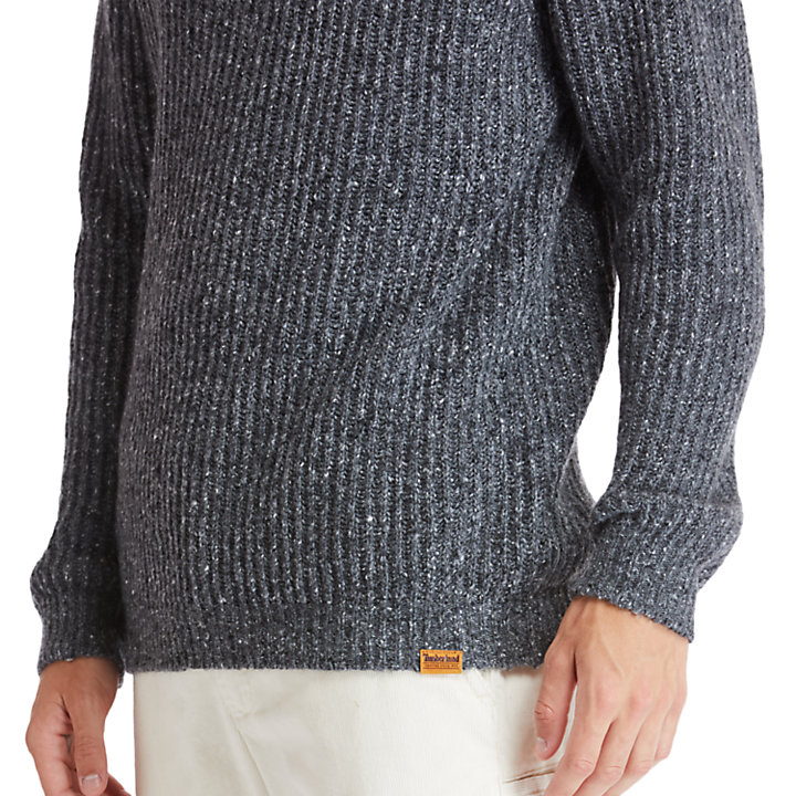 Phillips Brook Fisherman Ribbed Sweater for Men in Grey-