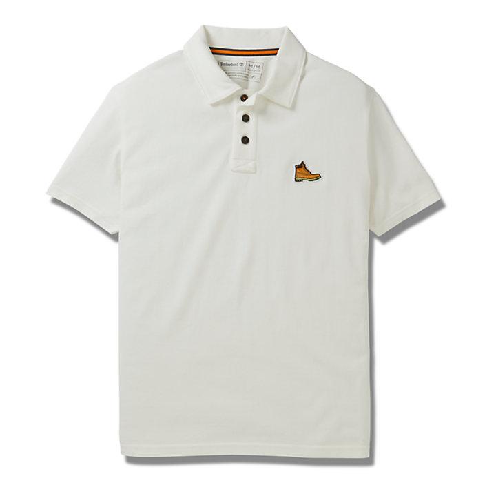 Boot Logo Polo Shirt for Men in White-