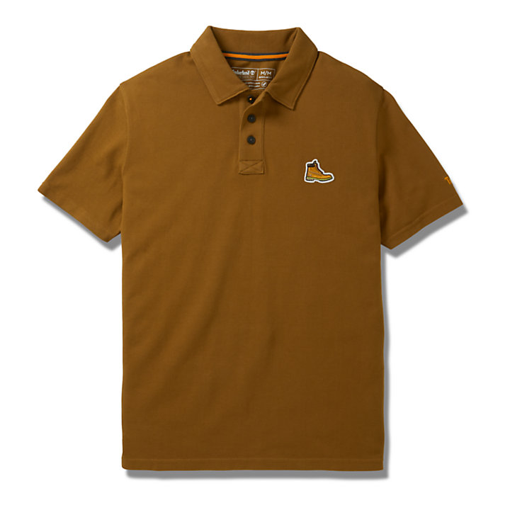 Boot Logo Polo Shirt for Men in Brown-