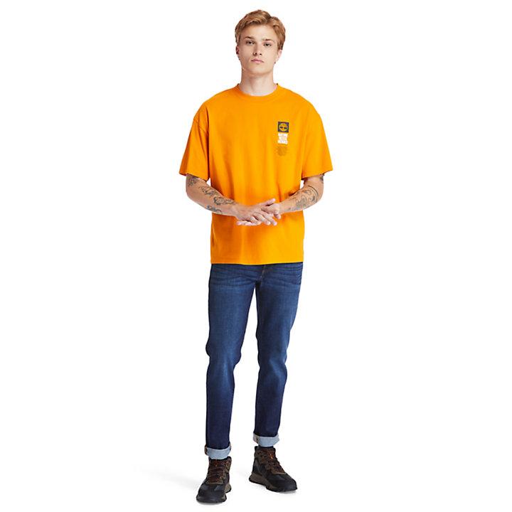T-shirt da Uomo con Stampa sul Retro EK+ in arancione-
