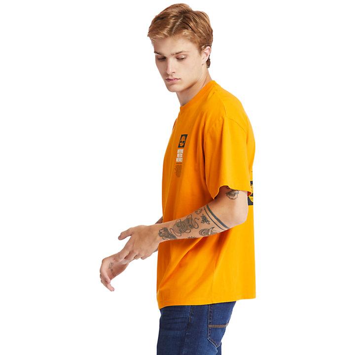 T-shirt à imprimé graphique au dos EK+ pour homme en orange-
