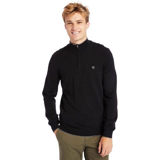 Nissitissit River Half-Zip Merino Wool Sweater for Men in Black | Timberland