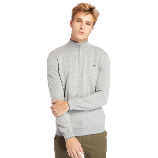Nissitissit River Half-Zip Merino Wool Sweater for Men in Grey | Timberland