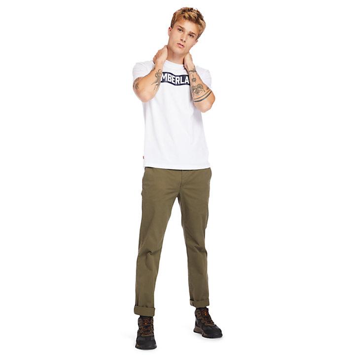 Mink Brook T-shirt met 3D-opdruk voor heren in wit-