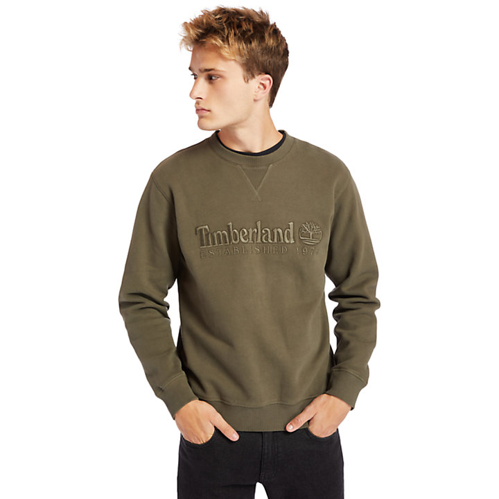 Heritage Est. 1973 Crew Sweatshirt for Men in Dark Green-
