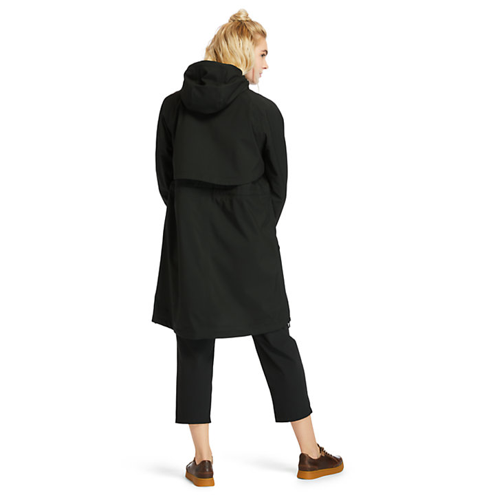 Parka mi-longue imperméable pour femme en noir-