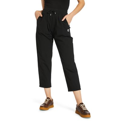 Water-repellent+Tapered+Trousers+for+Women+in+Black