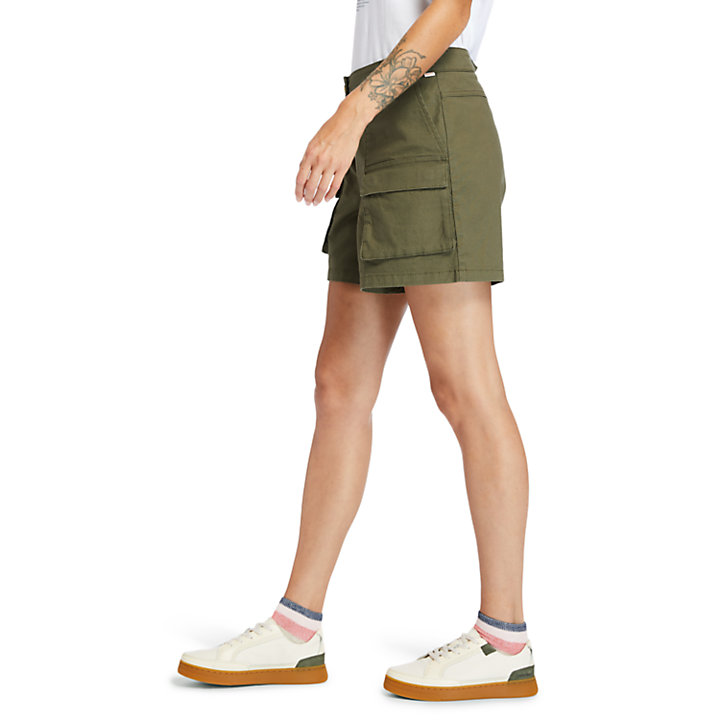 Utility Shorts for Women in Green-