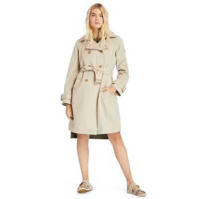 Wasserdichter+Trenchcoat+f%C3%BCr+Damen+in+Beige