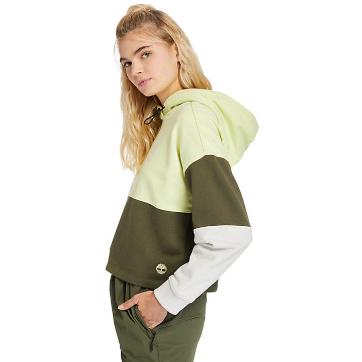 Farbblock Kapuzenpullover für Damen in Hellgrün-