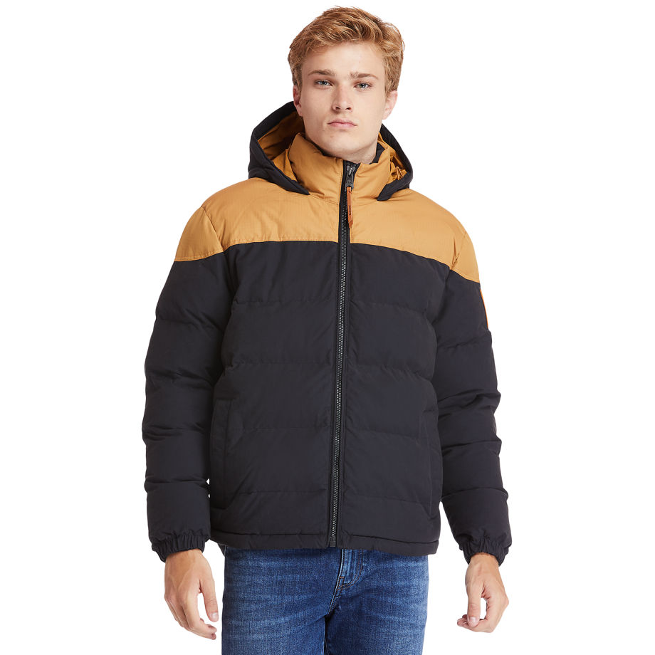 Timberland Welch Mountain Warm Puffer Jacket For Men In Yellow/black Yellow/black, Size XL