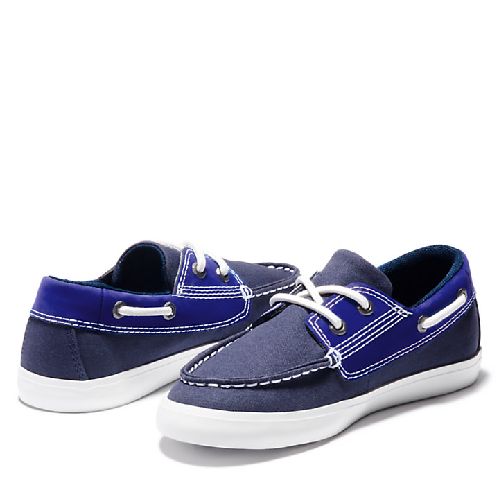 Newport Bay Boat Shoe for Junior in Navy-