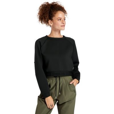 Spacer+Knit+Sweatshirt+voor+dames+in+zwart