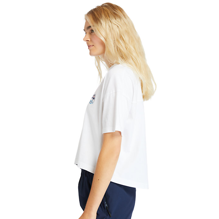 Stippled Cropped T-Shirt for Women in White-