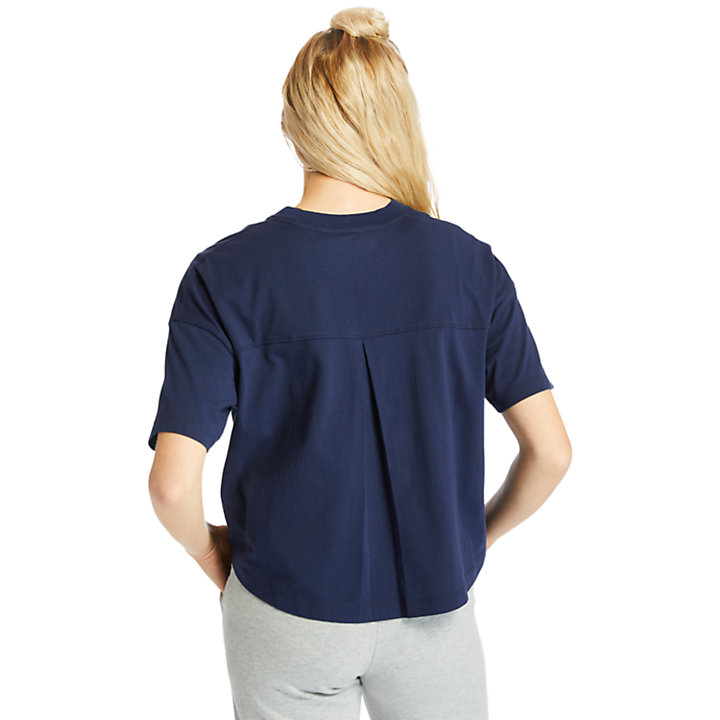 Stippled Cropped T-Shirt for Women in Navy-