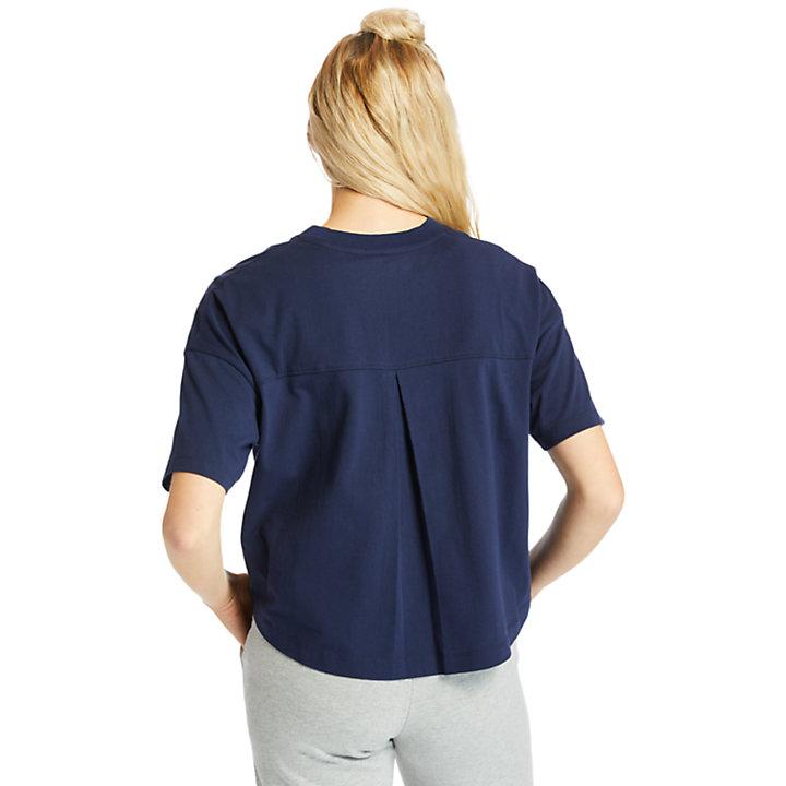 Getüpfeltes, verkürztes Damen-T-Shirt in Navyblau-