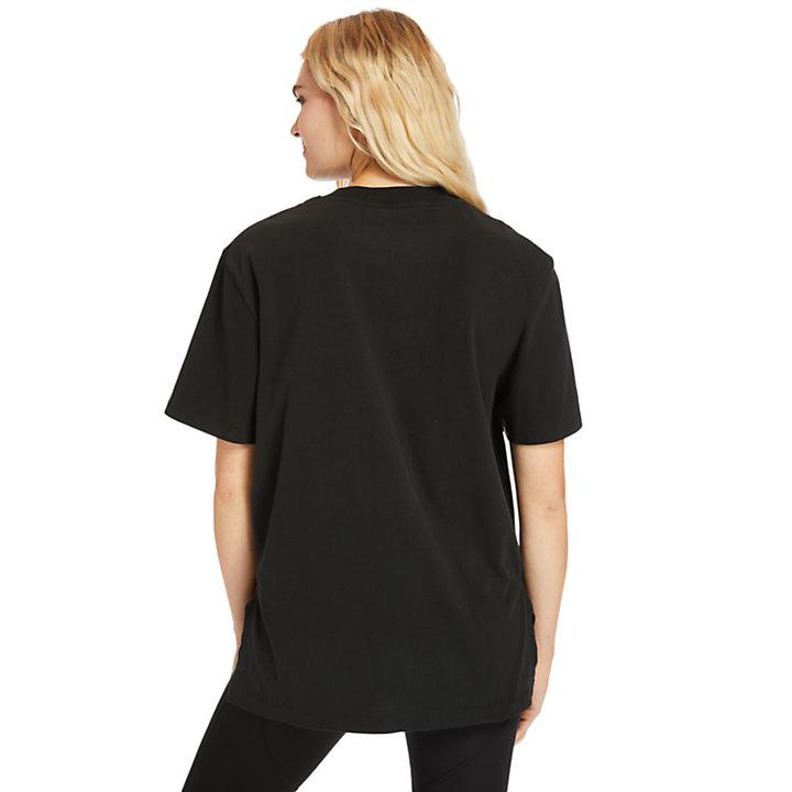 T-shirt oversize à logo réfléchissant pour femme en noir-