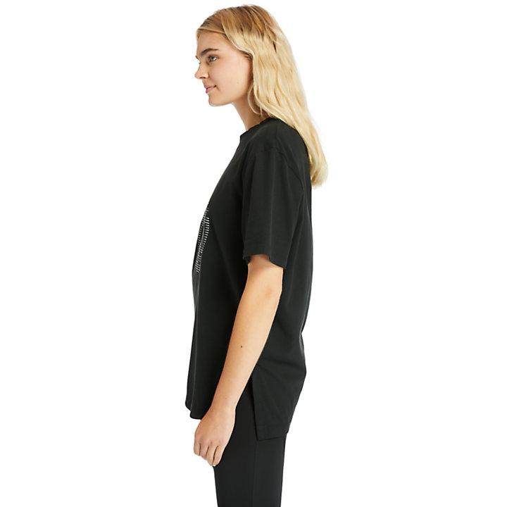 Übergroßes T-Shirt mit reflektierendem Logo für Damen in Schwarz-