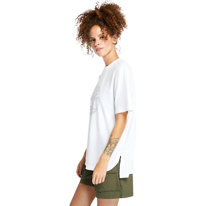 T-shirt oversize à logo réfléchissant pour femme en blanc-