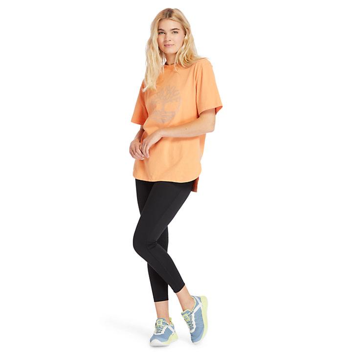 T-shirt oversize à logo réfléchissant pour femme en rose-
