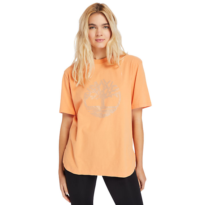 Oversized Reflective Logo T-Shirt for Women in Pink-