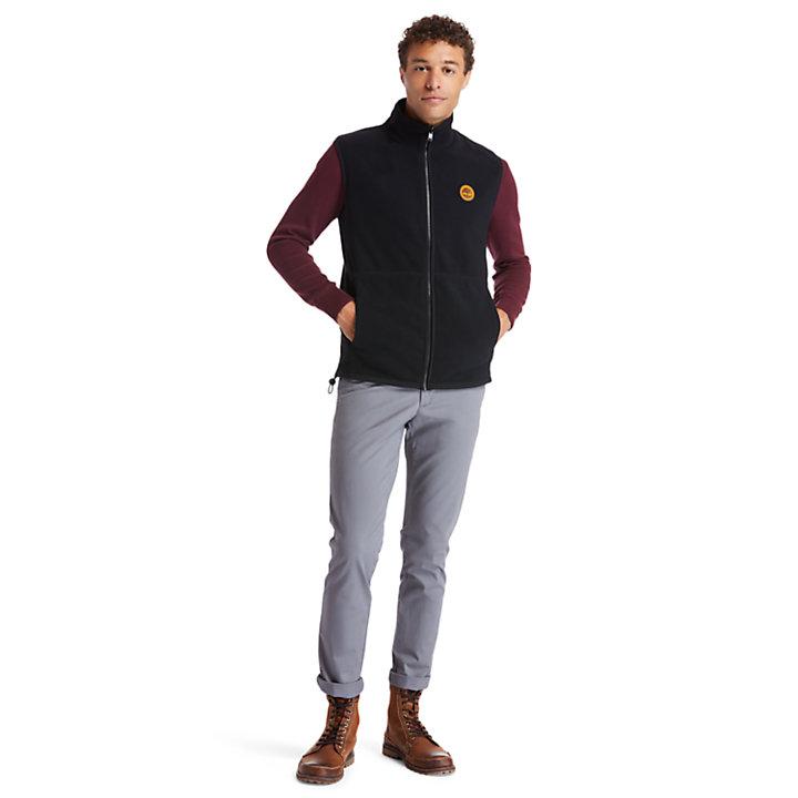 Recycled Polyester Fleece Vest for Men in Black-