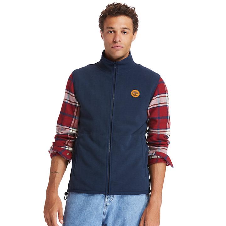 Recycled Polyester Fleece Vest for Men in Navy-