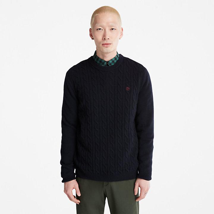 Pull à col rond en laine mélangée  Phillips Brook pour homme en bleu marine-