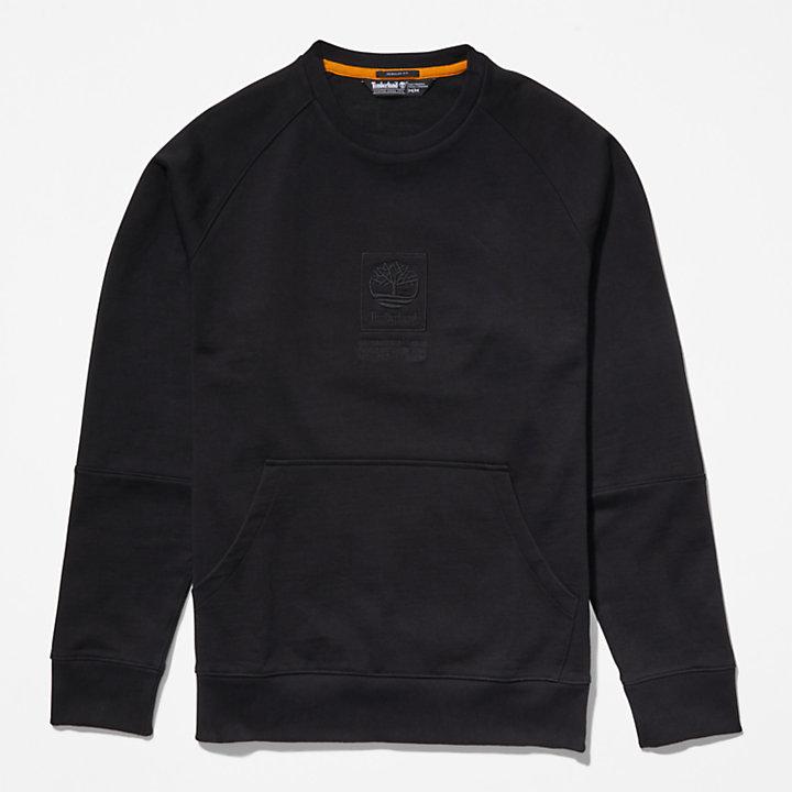 Heavyweight Crewneck Logo Sweatshirt for Men in Black-