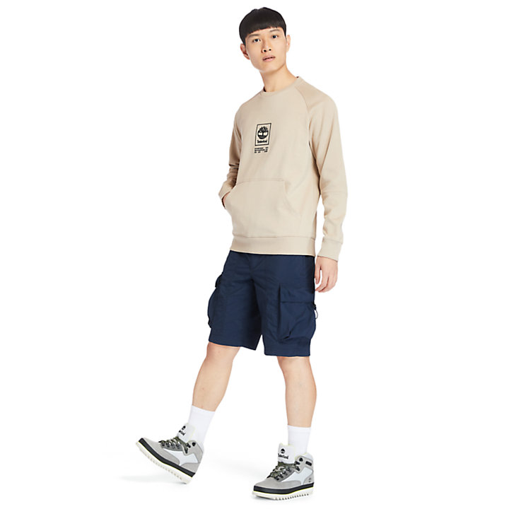 Pouch-pocket Sweatshirt for Men in Beige-