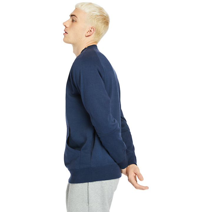Sweat-shirt à poche kangourou pour homme en bleu marine-