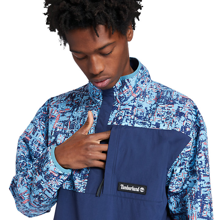 Printed Packable Anorak for Men in Navy-