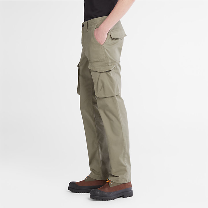Twill Cargo Trousers for Men in Green-