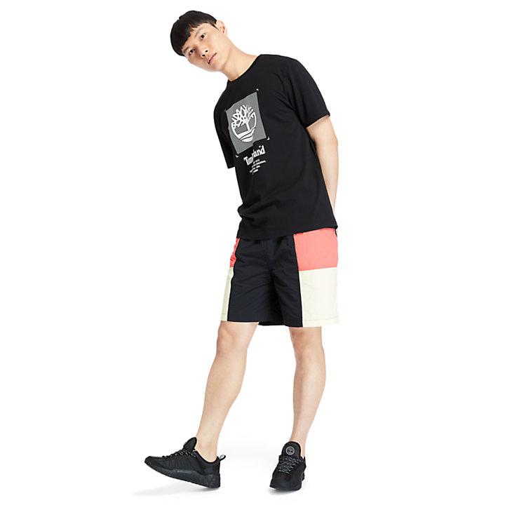 T-shirt coupe carrée à logo pour homme en noir-