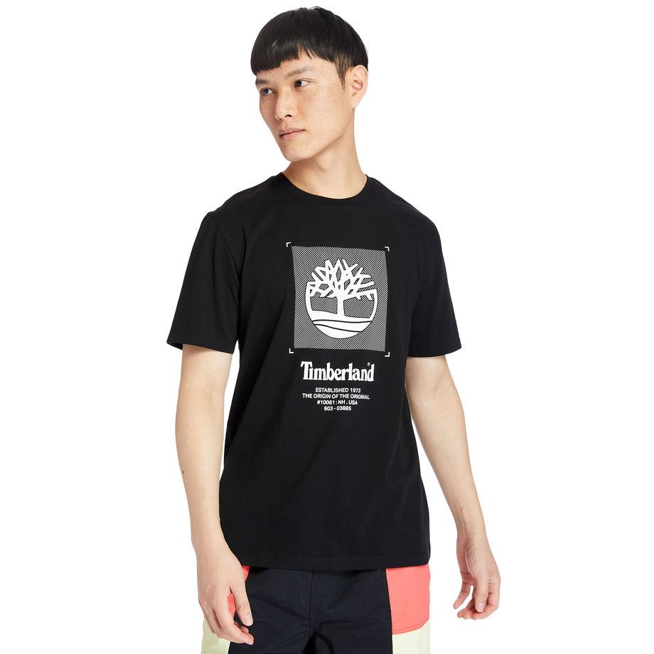 Timberland Logo Box-cut T-shirt For Men In Black Black, Size XL