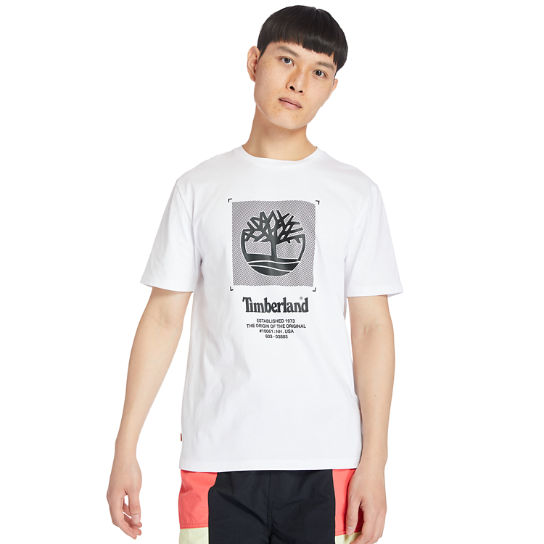 Logo Box-Cut T-Shirt for Men in White | Timberland