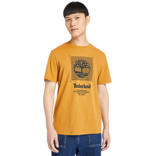 Logo Box-Cut T-Shirt for Men in Orange | Timberland