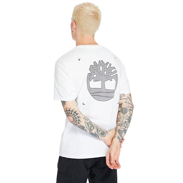 Herren-T-Shirt mit Logo auf dem Rücken in Weiß-