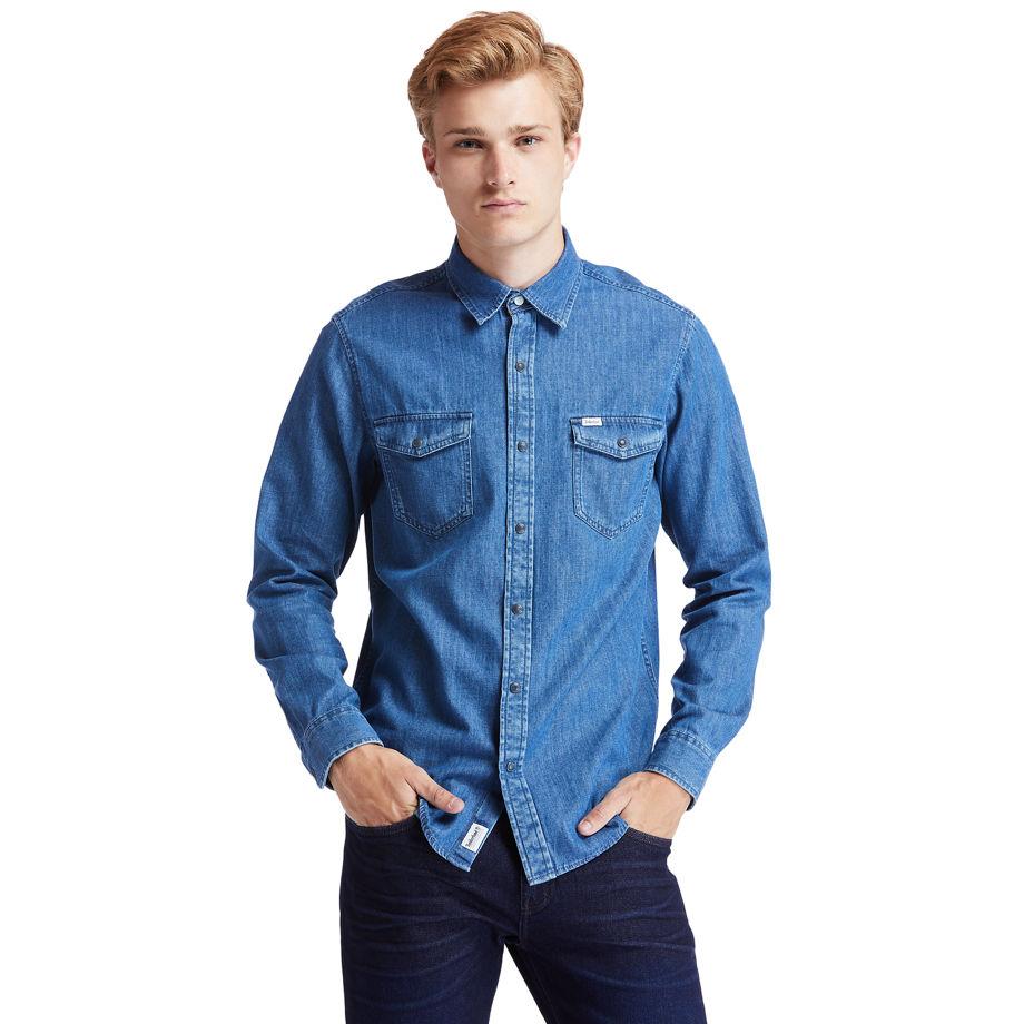 Timberland Mumford River Denim Shirt For Men In Blue Blue, Size L