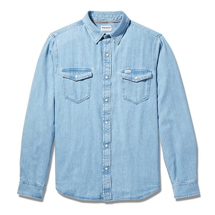 Mumford River Denim Shirt for Men in Light Blue-
