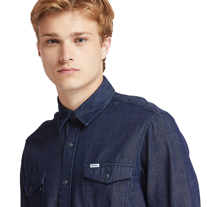 Camicia da Uomo in Denim Mumford River in indigo-