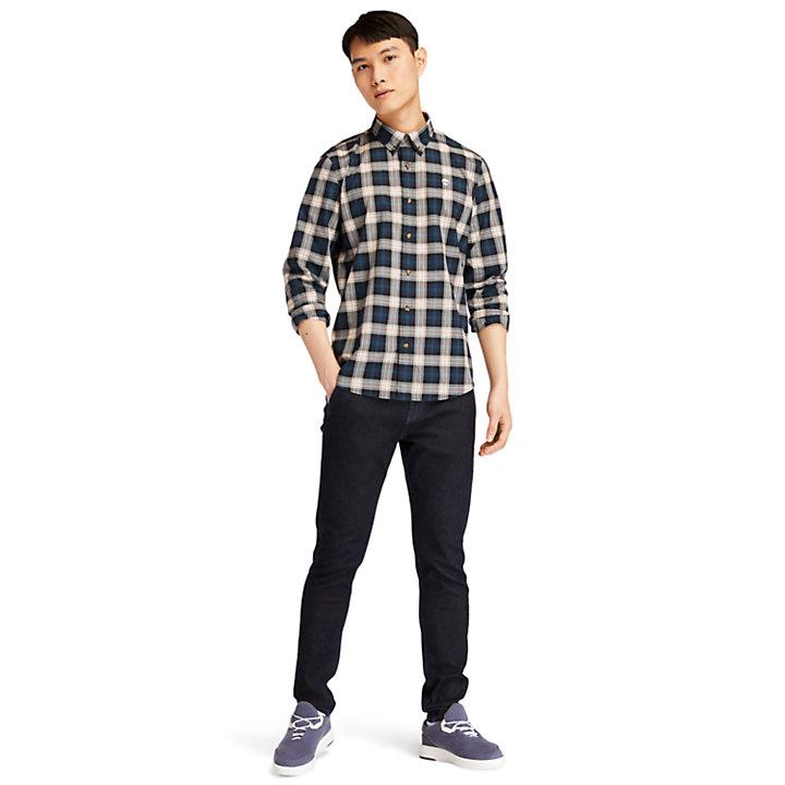 Camicia da Uomo con Motivo Tartan Eastham River in blu marino-