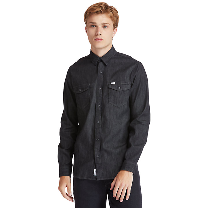 Mumford River Stretch Denim Shirt for Men in Black-