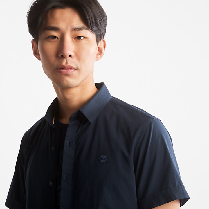 Chemise en popeline Eastham River pour homme en bleu marine-