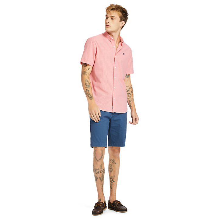 Suncook River Micro-gingham Shirt for Men in Pink-