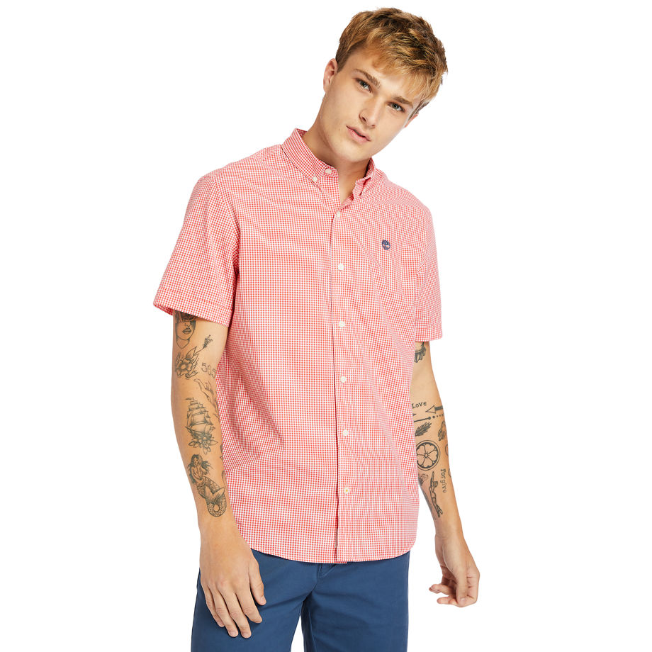 Timberland Suncook River Micro-gingham Shirt For Men In Pink Pink, Size L