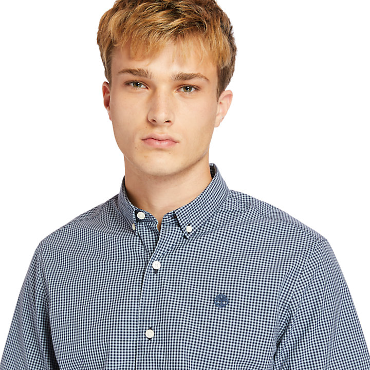 Suncook River Micro-gingham Shirt for Men in Blue-