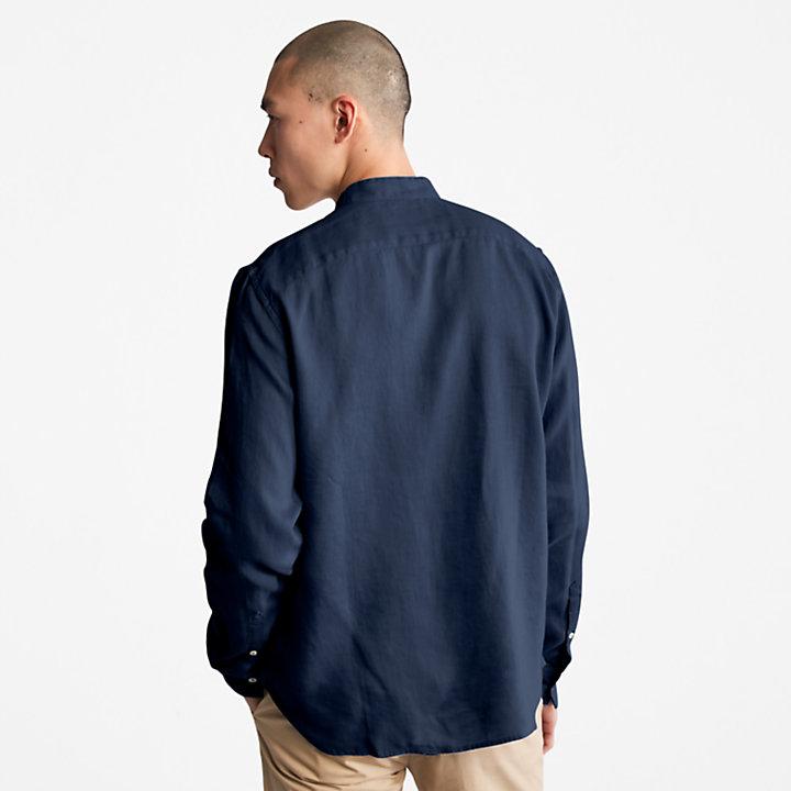 Camisa de Lino Mill River para Hombre en azul marino-