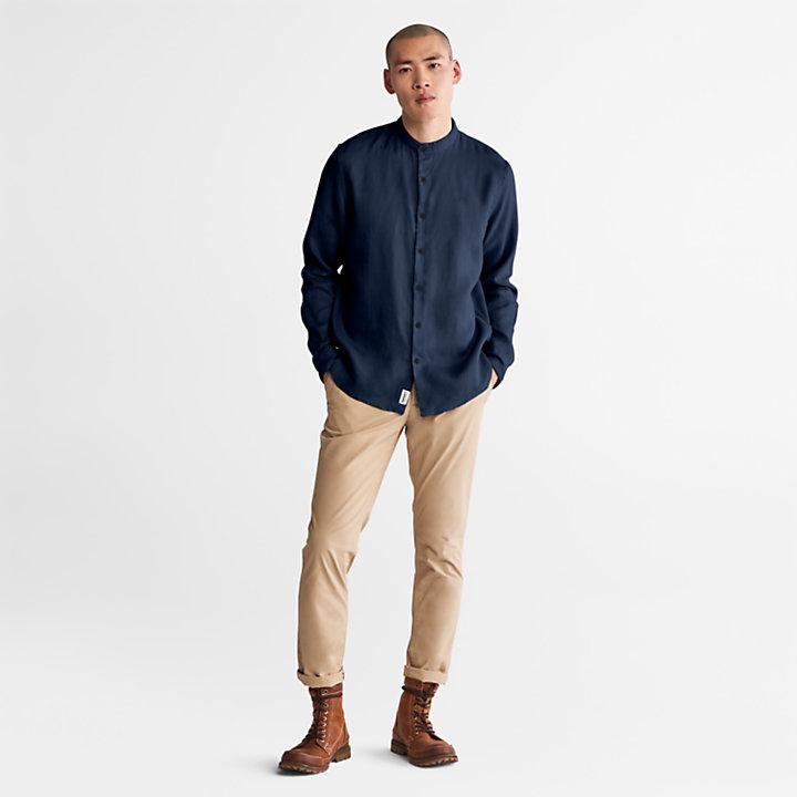 Mill River Linen Shirt for Men in Navy-