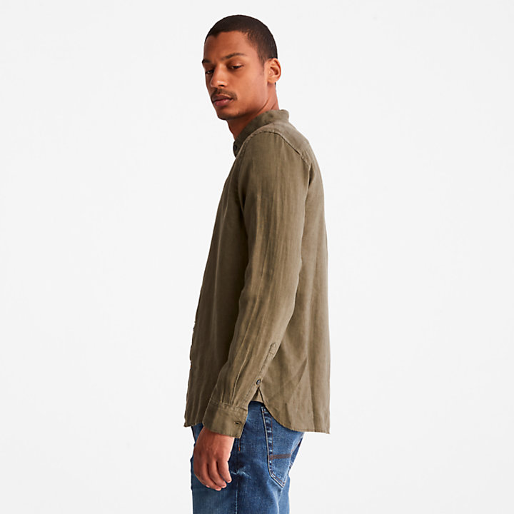 Mill River Linen Shirt for Men in Dark Green-
